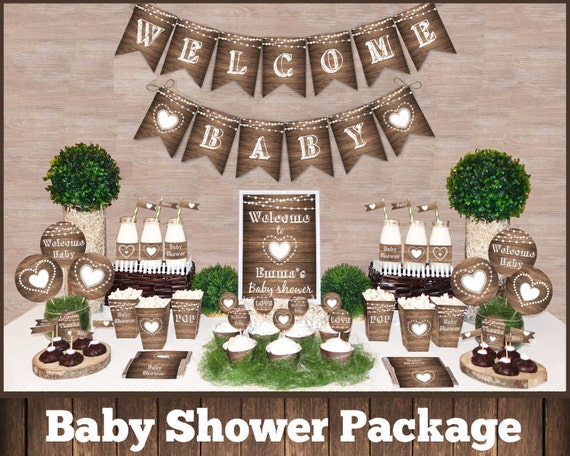 Rustic Baby Shower Decorations Printable Package Gender  Etsy-2505