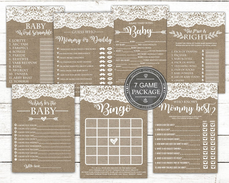 bc335a7500042 Rustic Baby Shower Game Bundle Printable, Baby Shower Ideas, Daddy or  Mommy, Bingo, Who knows Mommy Best, Word scrambe, Game set