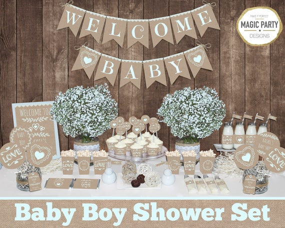 Rustic Baby Shower Decorations Printable Boy Baby Shower Etsy