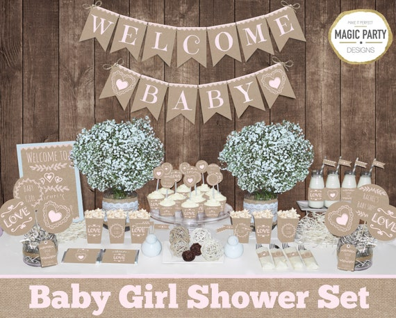 Rustic Baby Shower Package Printable, Girl Baby Shower ideas, Printable  Decoration party pack, Burlap style decors