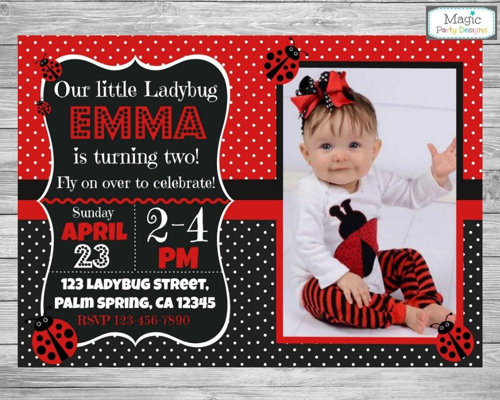 Invitación de la mariquita invitación de cumpleaños de la | Etsy