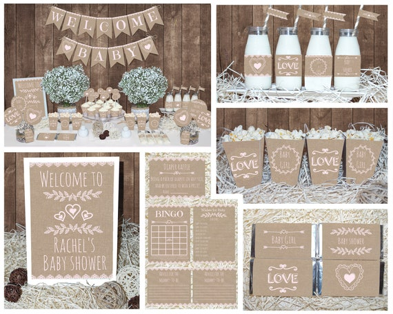 Rustic Baby Shower Decorations Girl Baby Shower -6564