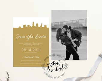 Ohio Map Save the Date Template QUINN Ohio Save the Date Postcard Columbus Save the Date Printable Instant DIY Cleveland Save the Date