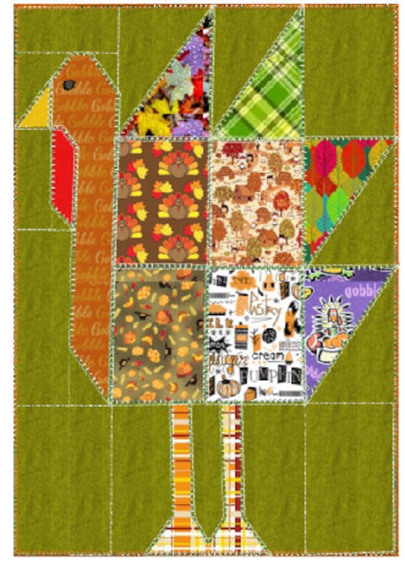 Thanksgiving quilting embroidery design Turkey quilt design Thanksgiving quilting block Turkey quilt block Turkey quilting  design