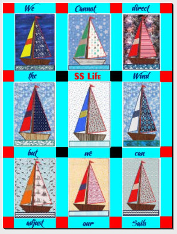 Sailboat Applique Quilt Pattern Machine Embroidery Design 4 Etsy