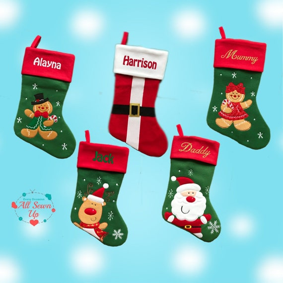 Luxury Christmas Stockings Uk.Personalised Christmas Stocking Embroidered Name Stockings Christmas 2018 Luxury 40cm Long Xmas Sock