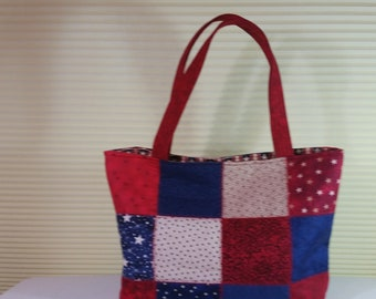 Quilted Tote Bag Red, White and Blue