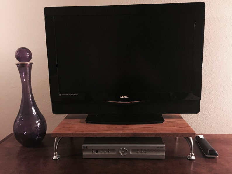 TV Riser Stand in Solid Oak with Curved Legs in Cherry Finish