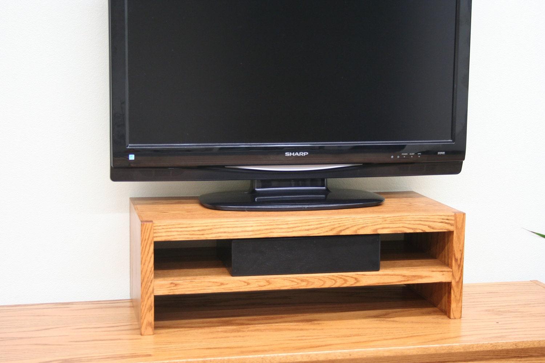 Support tv riser dans moderne style ch ne bois double niveau etsy for Support tv bois