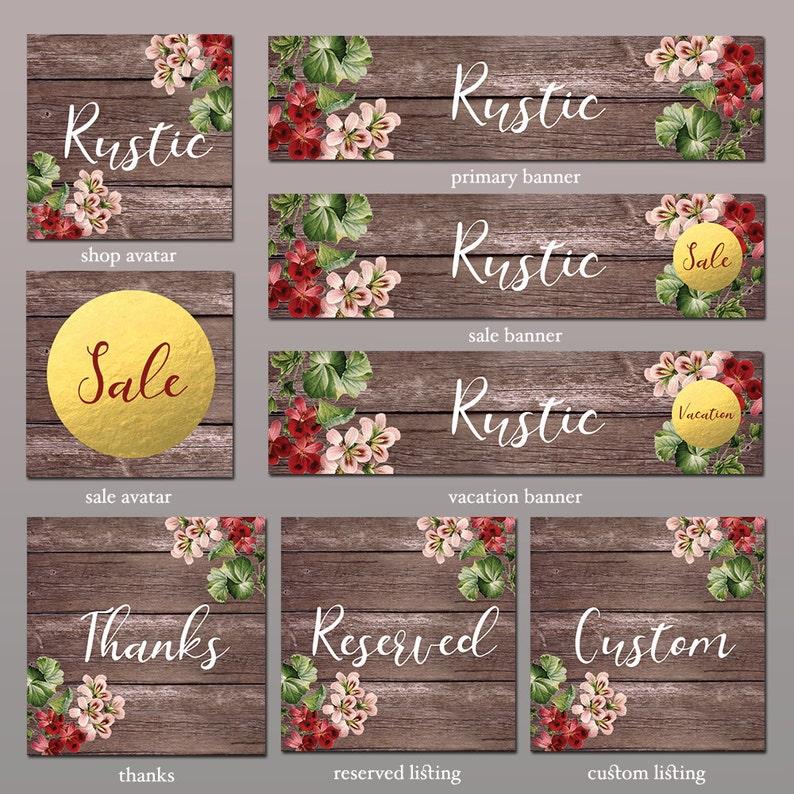 e612f78592d50 Etsy Store Banner, Rustic - 8 Piece Set, Store Graphics, Etsy Shop Banner  Set, Avatar, DIY Shop Banner, Graphic Design, Shop Icon