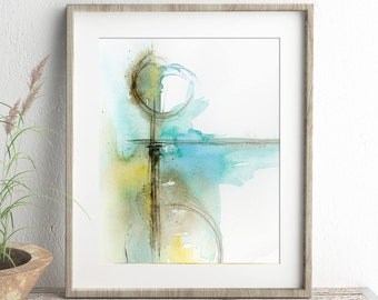 Abstract Art Print of Watercolor Geometric Painting, Scandinavian Wall Art for Living Room, Teal Blue Green Office Wall Decor, 5x7 to 11x14