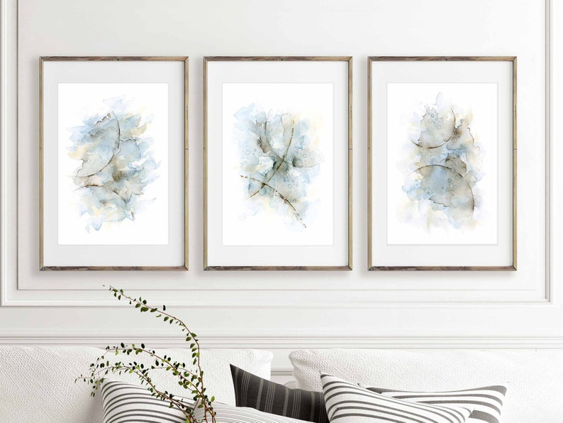 Living Room Wall Art Set Of 3 Prints Abstract Watercolor