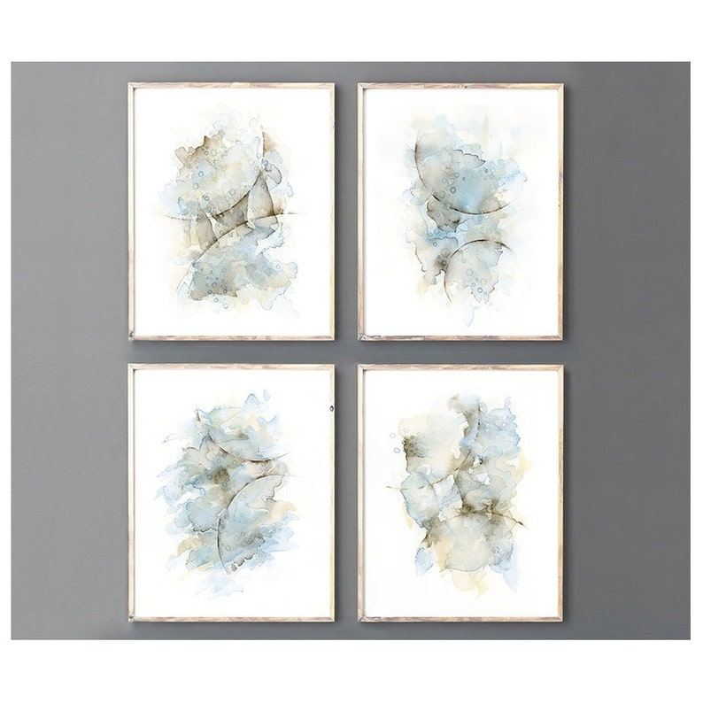 4 Piece Wall Art Abstract Painting Watercolor Print Set Blue Grey Coffee Cream Brown Artwork Bedroom Wall Art Matching Tumblr Room Decor