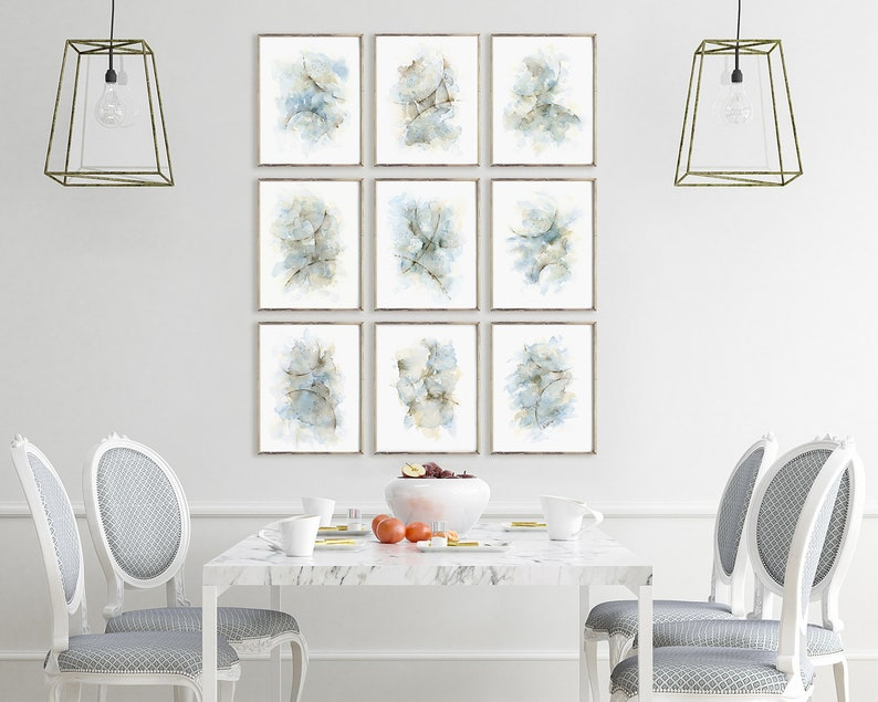 Abstract painting gallery wall set of 9 prints bedroom wall decor over the bed artwork for walls in blue grey brown dining room wall art