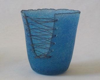 g20-059 pate de verre (glass) vessel with steel wire