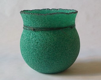 2nds SALE!  pate de verre (glass) vessel  with steel wire g20-061