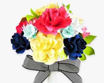 Paper Wedding Bouquet- DIY paper flower templates- Rose paper flower templates- Small paper flower templates- Wedding decor- Bridal bouquet