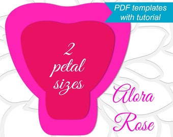 Printable PDF Paper Rose Templates, Giant Paper Rose Flower Templates with Tutorial, Large Flower Template