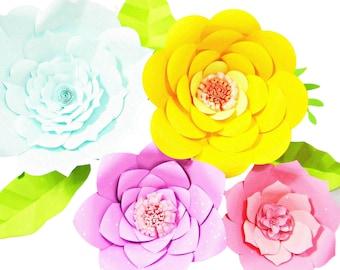 Giant Paper Flower Templates Tutorials Flower Wall Flower Etsy