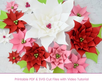 Small And Large Christmas Paper Flower Poinsettia Templates Etsy