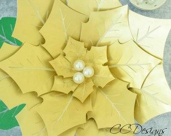 Giant Paper Poinsettia Flowers, Paper Flowers, Printable Flower Templates & Tutorial, Christmas Flowers, Christmas Decor