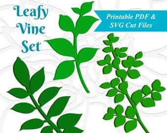 Leaf SVG Template, Leafy Vine Set, SVG cut files, Vine Cut files, Leaf Svg, Use with Giant or Small Paper Flowers,  Leaf Template