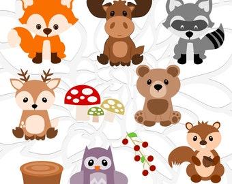 Woodland Animal SVG Set, Cute Baby Forest Animals Clip Art, Fox SVG Cut File, Moose Cut File, Deer Svg, Woodland Nursery, Baby Shower