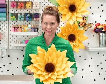 Giant Paper Sunflower Wall Decor, Flower Wall Art, Sunflower SVG, Paper Flower Decor, DIY Flower Templates