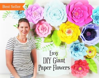 Giant Paper Flower Tutorial, Large Paper Flowers, Wedding Backdrop, Paper Flower Templates, DIY paper flower pattern