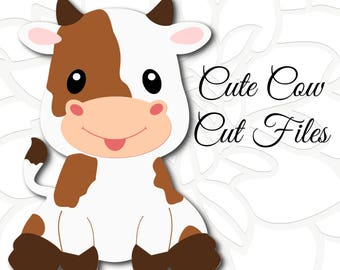 Cute Cow SVG cut file, Baby cow sitting SVG, Farm animal cut files, Baby farm animals, PNG images, Dxf cut files
