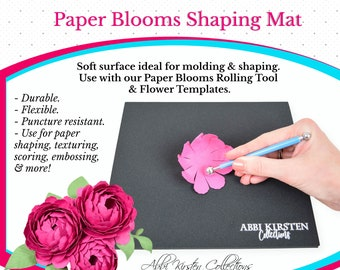 Paper Flowers Molding Mat & Shaping Tool Set, Flower Shaping Kit and Ball Stylus Tools to use with Paper Flower Templates, Embossing Mat