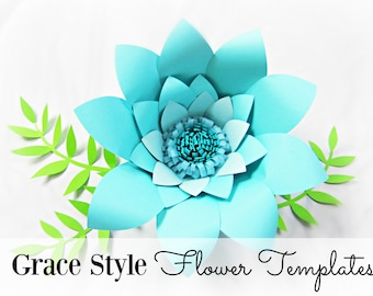 Easy paper flower template tutorial chrysanthemum paper etsy easy diy paper flower templates large paper flower pattern party decor instant download maxwellsz