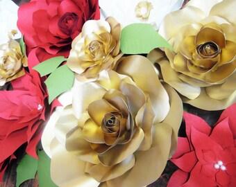 Christmas Poinsettia Paper Flowers Template Flower Svg Cut Etsy