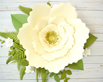 gold paper rose template tutorials giant paper flower etsy
