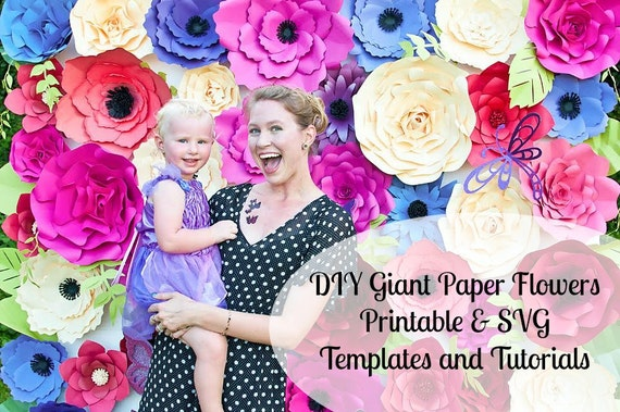 Giant Paper Flower Wall Giant Flower Templates Tutorials Etsy