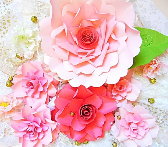 easy paper flower tutorial with templates svg flower cut etsy
