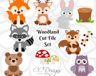 Woodland Animals, SVG Cut Files, Woodland Nursery, Baby Forest Animals,  Cute Deer, Fox, Bear, Bunny SVGs, SVGs for Cricut & Silhouette
