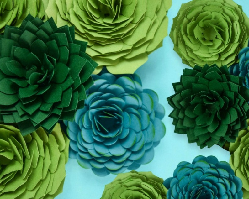 Succulent Paper Flower Templates Faux Succulents Wedding image 0