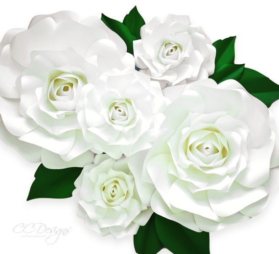 Large paper rose template giant paper flower printable etsy image 0 mightylinksfo