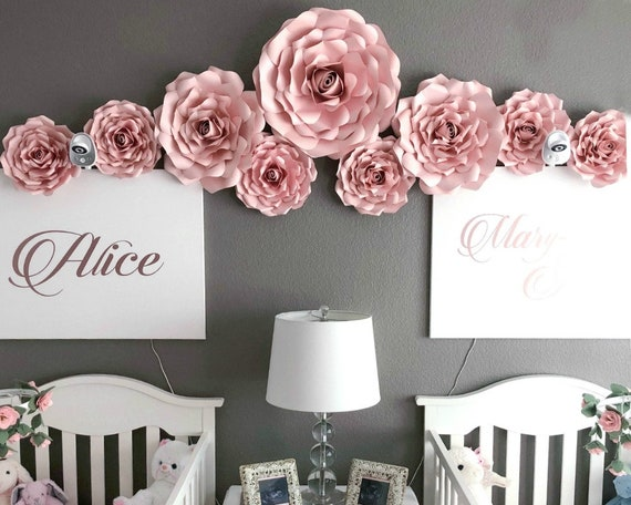Diy Paper Rose Templates Nursery Wall Decor Large Paper Flower