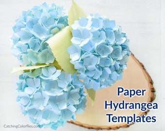Paper Hydrangea Flower Template Pattern & Tutorial, DIY Small Paper Flowers, Paper Flower SVG Files for Cricut and Silhouette