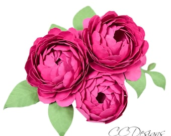 Peony Paper Flower Template, Peony SVG Cut Files and Printable PDFs, DIY Paper Flower Templates, Wedding Paper Bouquet