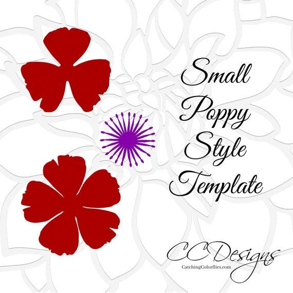 Small Poppy Flower Template SVG Cut File Pattern