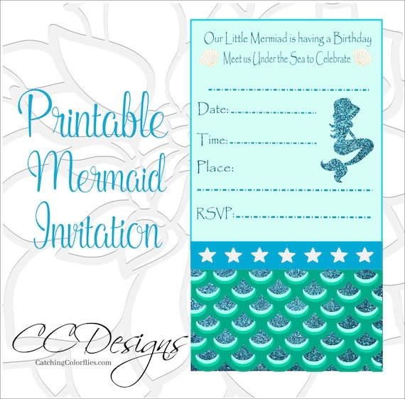 picture about Printable Invitations identify Mermaid Printable Invite, Mermaid Birthday Get together Invitation, Below the Sea Birthday, Mermaid Bash Printables
