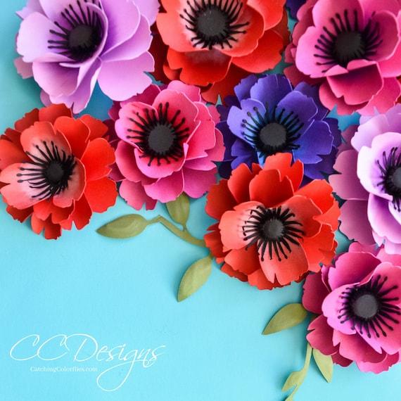 small poppy flower template svg cut file flower pattern etsy