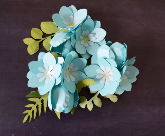 Small DIY Paper Flower Templates Tutorial Forget Me Not Paper