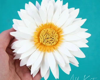 Daisy Paper Flower Pattern with Tutorial, SVG Cut Files and PDF Printables Included, Instant Download