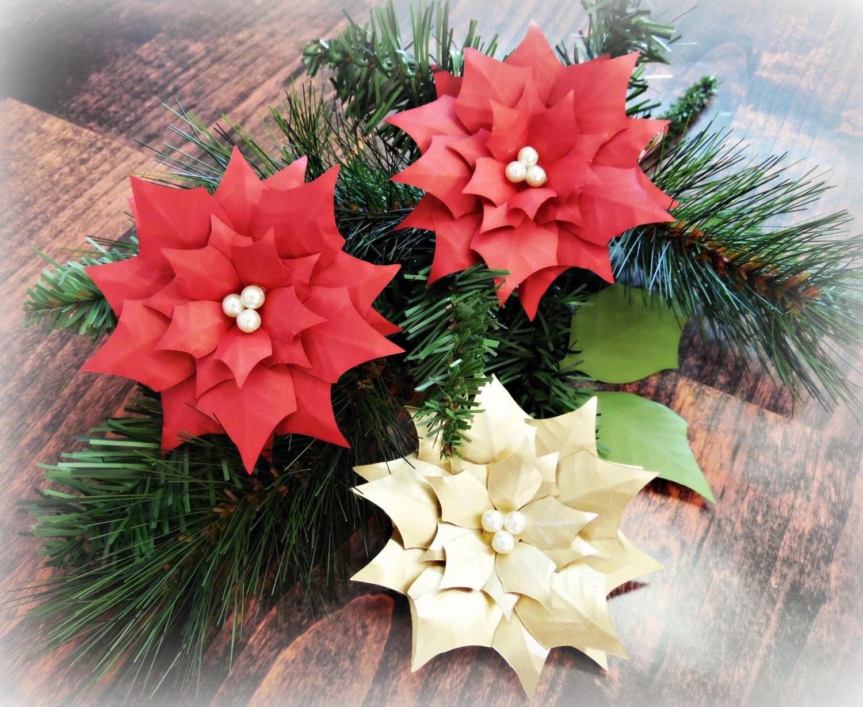 Small Paper Flower Pdf Templates Christmas Poinsettia Flower Etsy