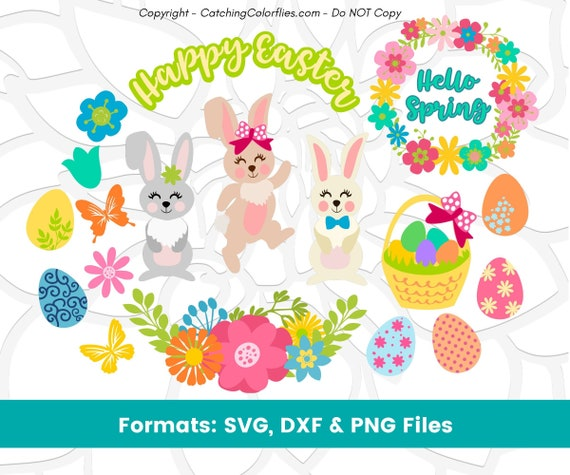 Easter Svg Cut Files Bundle Easter Bunny Svg Easter Eggs Svg Springtime Flower Wreath Svg Cut Files For Cricut By Catching Colorflies Catch My Party