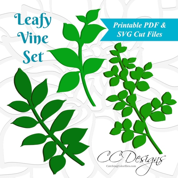 svg files leaf templates vine svg paper flowers printable etsy